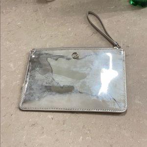 NEW shiny silver Lululemon wrist purse and zipper